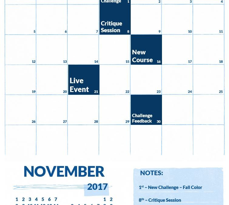 November 2017 Calendar of Events on Elite